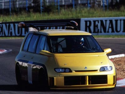 Strange car: F1 Alain Prost driver at Magny Cours