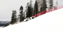 Nissan GTR runs up a snow covered mountain