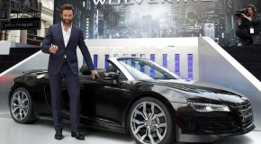 "Hugh Jackman arrives at ""The Wolverine"" premiere in 2013 Audi R8"