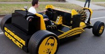 A full sized Lego car, with an engine made from Lego that runs on air
