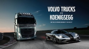 Motor racing personality Tiff Needell challenges a Koenigsegg One:1 in a Volvo Truck